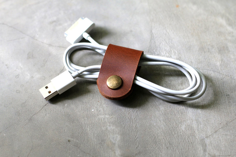 USB leather cable band